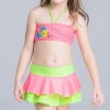 16colorful-dashed hem girl swimwear girl bikini