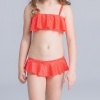 18colorful-dashed hem girl swimwear girl bikini