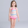 20colorful-dashed hem girl swimwear girl bikini