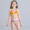 24colorful-dashed hem girl swimwear girl bikini