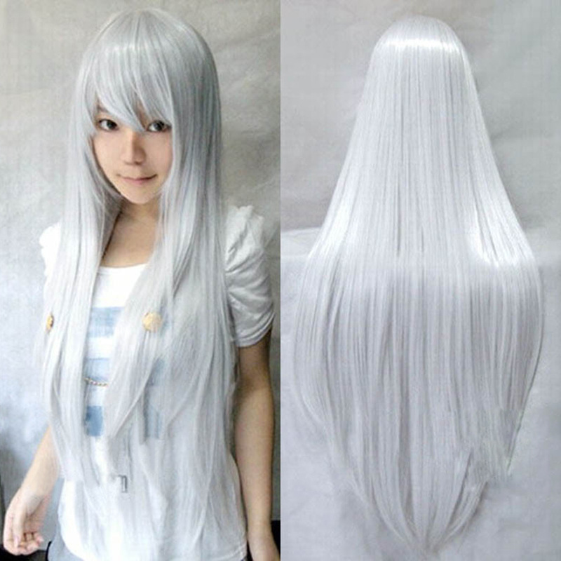 Silvery white grows straight hair