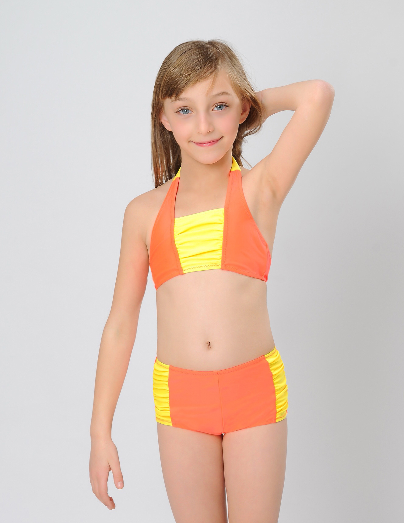 patchwork color high quality swimwear for little girl ...